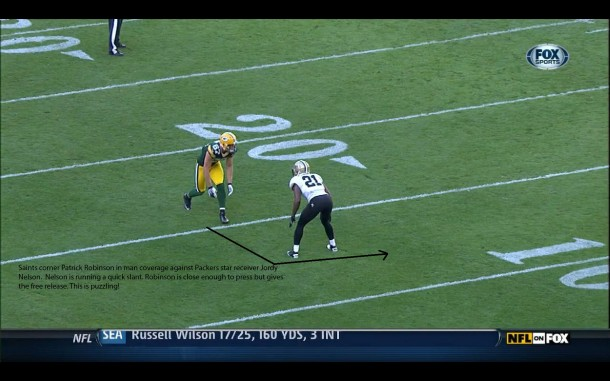 Saints corner Patrick Robinson in man coverage with Packers receiver Jordy Nelson