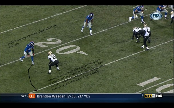 Saints corner Patrick Robinson in man to man coverage on Giants star receiver Hakeem Nicks