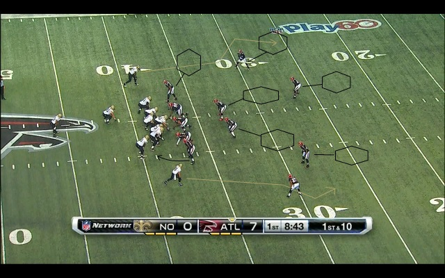 All 22 diagram of the Saints turnover in Falcons territory.