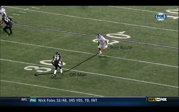 Rueben Randle running a post route while being defended by Cary Williams