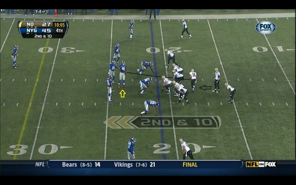 Justin Tuck playing LB in a man/zone combo scheme